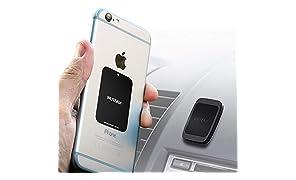 Support magnétique de voiture pour téléphone avec 6 aimants pour tenir des téléphones pesants comme Samsung S8 et S8 Plus, iPhone 7 et 7 Plus, Galaxy S8 et S8 Plus avec système de fixation ajustable de qualité industrielle