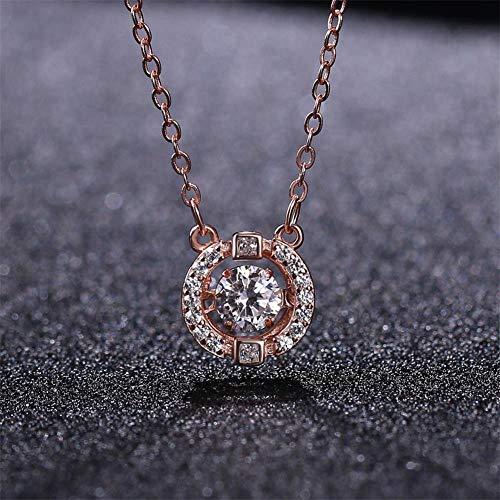 FENMENG s Weibliche Cold Wind Wild Micro-Set Single Diamond Heartbeat Schlüsselbeinkette, Weißer Diamant (Rotgold), 925er Silber