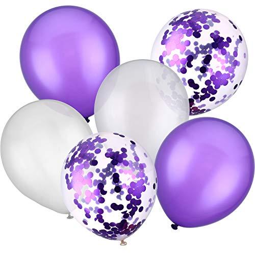 30 Stück 12 Zoll Latex Ballons Konfetti Ballons für Hochzeit Geburtstag Party Dekoratio (Weiß und Lila)