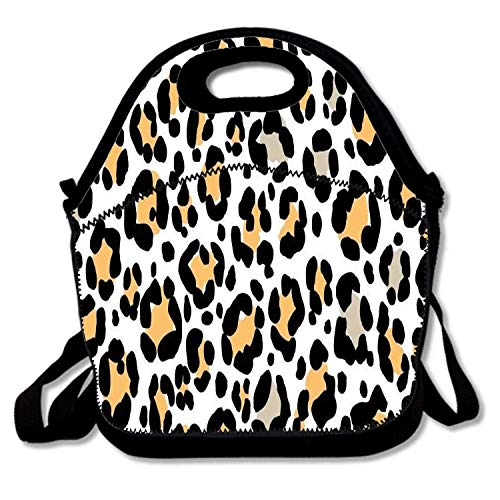Insulated Neoprene Lunch Bag Thermal Carrying Gourmet Lunch Box Containers for Women Men Teen Girls Boys Kids - Leopard Print Natural Tan Cheetah Spots Leopard Cheetah Spots