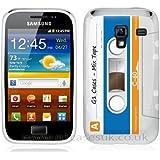 Etui de créateur pour Samsung Galaxy Ace 2 i8160 - Etui / Coque / Housse de protection blanc, bleu et orange en TPU/gel/silicone avec motif cool cassette rétro