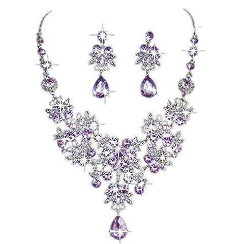 Colliers courts,Bal de promo Bijoux de mariage nuptiale Collier en cristal strass Boucle d'oreille Ensembles (Violet)