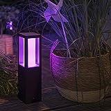 Philips Hue White & Color Ambiance Impress Sockelleuchte, schwarz | LED-Gartenleuchte für den...