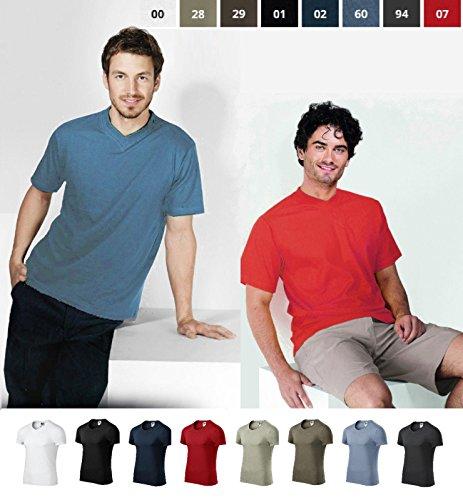 T-Shirt für Herren Shirt Slim Fit V-neck 100% Baumwolle - Größe und Farbe wählbar - Rot