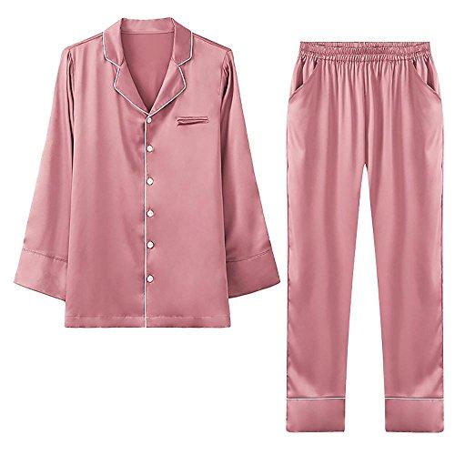 Donne Sexy Seta Set da pigiama Le signore 2 pezzi Casuale biancheria da notte Pink