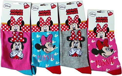 Disney Minnie Maus Socken 4er Pack - Lache und Träume mit Minnie - Pink/Türkis/Grau/Mehrfarbig - Bundle by MLS Kids (Disney Socken Für Kinder)