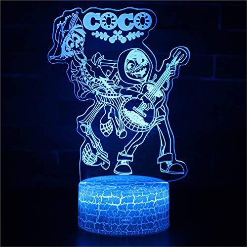 Bbdeng 3D-Nachtlicht LED-Touch-Farbwechsel optische Täuschungslampe kreative Kinder mit schlafender Tischlampe Schlafzimmer Vision Umgebungslicht Clown-Band-Stil Clown-band