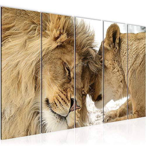 Bilder Löwen Liebe Wandbild 150 x 60 cm Vlies - Leinwand Bild XXL Format Wandbilder Wohnzimmer Wohnung Deko Kunstdrucke Orang 5 Teilig - MADE IN GERMANY - Fertig zum Aufhängen 002156a