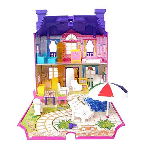 Maison de poupée en plastique avec Meubles Accessoires, Lumière, Musique vocale Pliable Villa à deux étages de luxe Jouets pour enfants