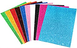 Self Adhesive Easy to Peel Off Glitter EVA Foam Sheets, A4 Size, Pack of 10 (Assorted Colors)
