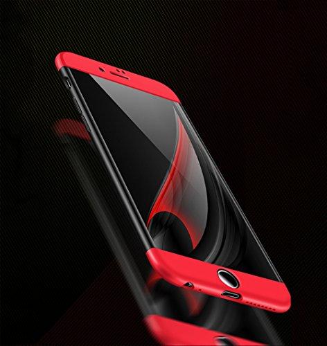 """Coque Perfect Fit iPhone 6/6S 4.7"""", uiano® Protection 360 degrés Housse complète Protection 3 en 1 Combinaison Anti-Scratch PC Ultra-mince Coque antichoc pour iPhone 6/6S 4.7"""" (Noir Rouge) + verre tre Noir + Bleu"""