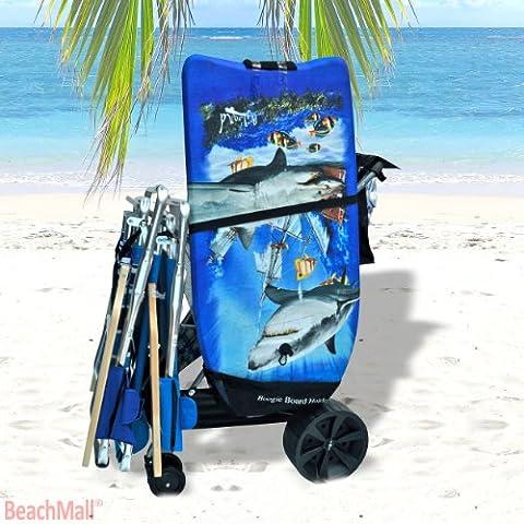 Super Wide Wheel Wonder Wheeler Beach Cart with Silver Mist Frame and Black Fabric (Black Fabric with Silver Mist Frame, External BodyBoard Pouch with Silver Mist Frame)