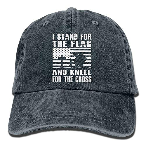 Presock Unisex I Stand for The Flag and Kneel for The Cross-1 Vintage Jeans Baseball Cap Classic Cotton Dad Hat Adjustable Plain Cap