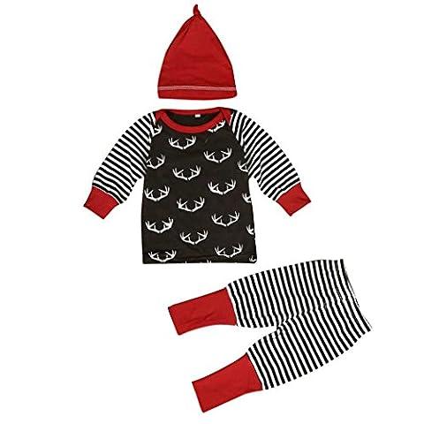 sakure Infant Baby Girl Boy Geweih Print Baumwolle Lange Ärmel O Neck Warm Top Strampler Lang Gestreift Hose Leggings Red Hat 3Outfits Set (Baby In Watermelon Kostüm)