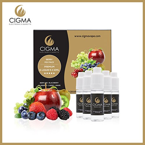 CIGMA 5 X 10ml E Liquid Berry Pack | Berry Mix | Blueberry | Blackberry | Cherry | Grape | New Premium Quality Forumla with Only High Grade Ingredients | VG & PG Mix | Made For Electronic Cigarette and E Shisha