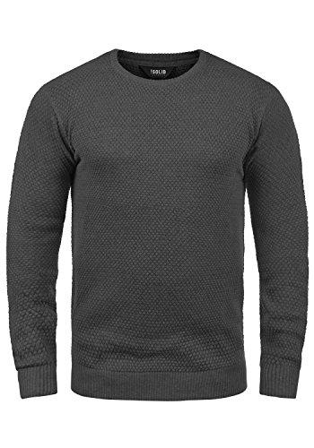 !Solid Karl O-Neck Herren Strickpullover Feinstrick Pullover Mit Rundhals Aus 100% Baumwolle, Größe:XL, Farbe:Dark Grey Melange (8288)
