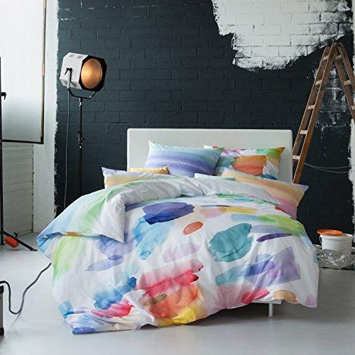 Estella Mako Satin Wendebettwäsche Splash Multicolor 1 Bettbezug 135x200 Cm 1 Kissenbezug 80x80 Cm