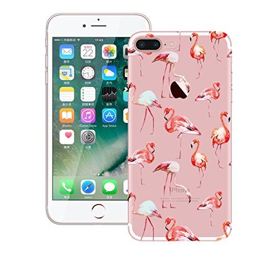 HB-Int Hülle für iPhone 7 Schutzhülle Transparent mit Flamingo Blumen Palme Muster Etui Silikon Handyhülle Flexible Slim Case Cover Ultra Dünn Durchsichtige Handytasche Rot Flamingos