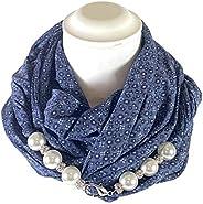 Sciarpa Gioiello Micro Fantasia Blu Con Perle In Resina E Cristalli Montati In Chiusura. Prodotto Artigianale,