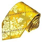 Lorenzo Cana - Luxus Designer Krawatte aus 100% Seide - Hochwertige Seidenkrawatte - gelb gold kariert Karos - 42036