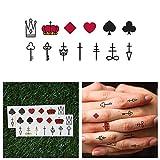 Tattify Spiele Karten Anzug Temporäre Tattoos- Get Lucky (Set mit 13)