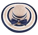 Leisial Mujer Señora Sun Hat sombrero de paja de sombrero de pico ancho Diseño elegante bowknot verano Beach Cap anti-UV cómodo y transpirable (Azul oscuro)
