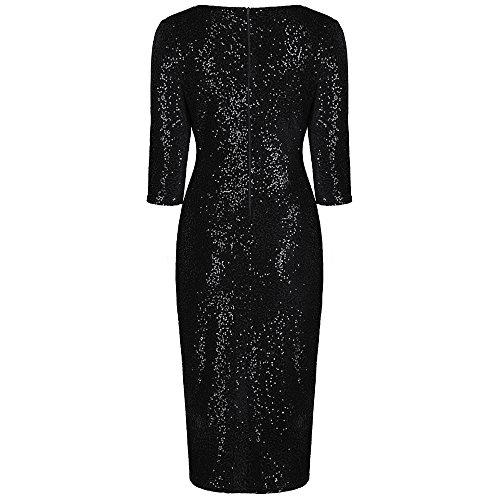 Pretty Kitty 40er Schwarz Bodycon Sequin Hollywood Bleistift Wiggle Kleid