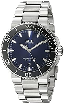 Oris Men's 'Aquis' Swiss Automatic Stainless Steel Diving Watch, Color:Silver-Toned (Model: 73376534135MB)