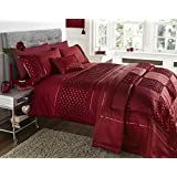 Petra Scarlet Red Luxury Crinkle & Sequin Detailing Double Duvet Cover Bed Set by Bedding Den