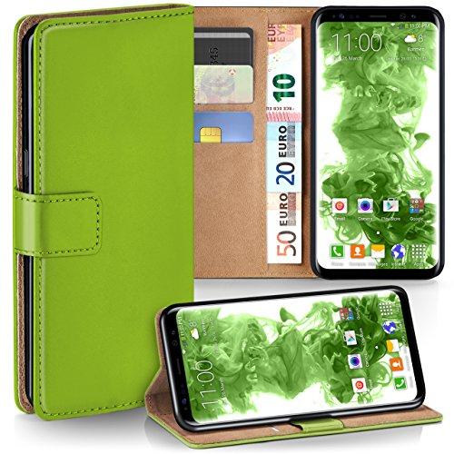 moex Samsung Galaxy S8 | Hülle Grün mit Karten-Fach 360° Book Klapp-Hülle Handytasche Kunst-Leder Handyhülle für Samsung Galaxy S8 Case Flip Cover Schutzhülle Tasche