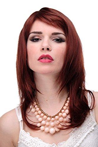 lange Damen Perücke Braun Braun-Rot-Mix glatte Haare mit Pony ca. 50 cm 3003-33A/130 ()