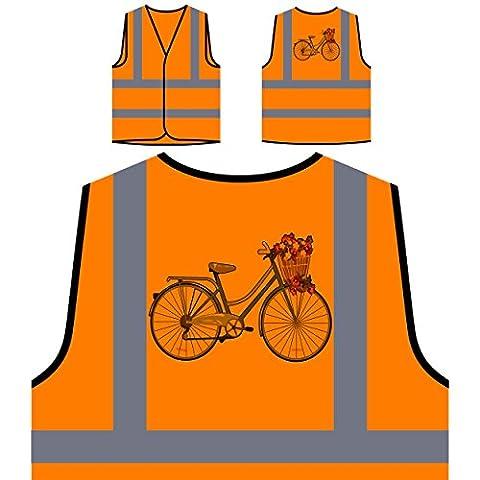 Vintage Bicycle Flower Basket nouveauté drôle Veste de protection orange personnalisée à haute visibilité mm58vo