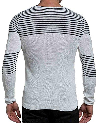 BLZ jeans - Pull homme fine maille blanc et navy ligné Blanc