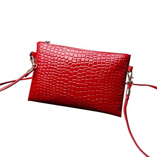 LSAltd ❤️ Damen Mädchen Mode PU Leder Geldbörse Krokodil Patten Crossbody Umhängetasche Mini Brieftasche (Rot) (Leder Krokodil-geldbörse Aus)