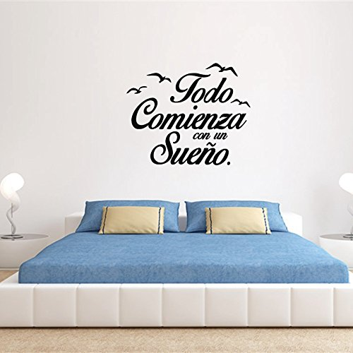 WWYJN Spanish Wall Decal Vinyl Stickers Motivation Quote Wall Stickers Kids Bedroom Art Decoration Gray 40x43 cm