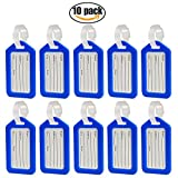 E-Spark Luggage Tags Suitcase Labels Bag Travel Accessories - 10 Pack (Blue)