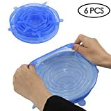 Silicone Stretch Lids 6-Pack Of Various Sizes, Oenbopo Silicone Bowl Lids Food Saver Covers Wrap Bowl Pot Cup Lid- BPA Free, Dishwasher, Microwave, Oven and Freezer Safe