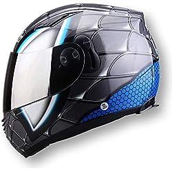 LKJCZ High-End-Männer Und Frauen Motorradhelm Doppel-Linse Vollen Helm Fahren Off-Road Anti-Nebel-Warm Helm Zu Senden Transparenten Film, B, M,C,L