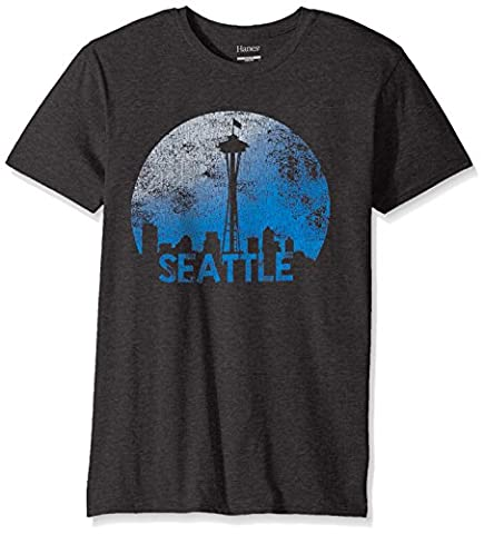 Hanes Men's Graphic T-Shirt-Americana Collection, Slate Heather/Seattle, 2X Large