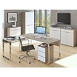 Komplettes Arbeitszimmer - Büromöbel Komplett Set Modell MAJA YAS in Glas sand matt / Weißglas 7-teilig (SET 1) -auch in anderen Kombinationen sofort verfügbar