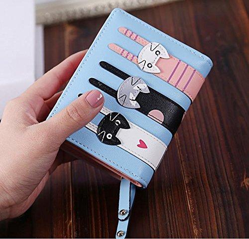 Hippolo Cute Cat borsa del portafoglio Bifold da donna con la chiusura lamp (Brown) Light blue