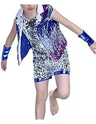 07153072ab1ec Tenthree Hip Hop Baile Callejero Ropa Niña Vestidos - Niño Tap Dance Jazz  Moda Disfraces Lentejuelas