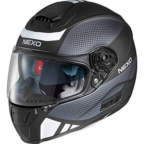 Nexo Motorradhelm, Vollvisierhelm, Integralhelm Comfort, Integralhelm mit Sonnenblende, 1.500 g, klares, kratzfestes Visier, Belüftung, Ratschenverschluss, Schwarz/grau matt, L