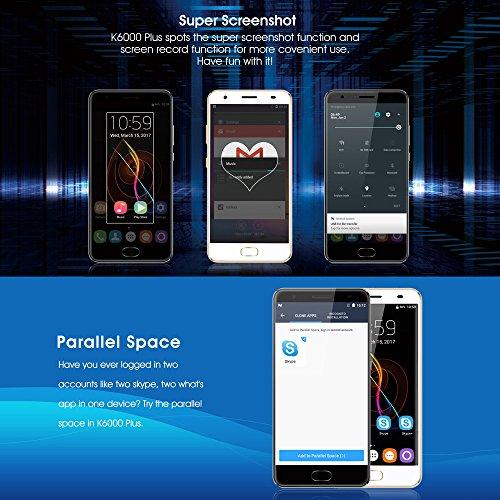 OUKITEL K6000 Plus Smartphone- Android 7 0  Pantalla 5 5 pulgadas  MTK6750T 64-bit Octa Core  4GB RAM 64GB ROM  8MP 16MP C  mara  Huella Digital  12V