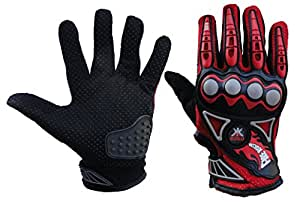 Probiker Imported Mesh Fabric Fire Roller Motorcycle Gloves (Red, X-Large)