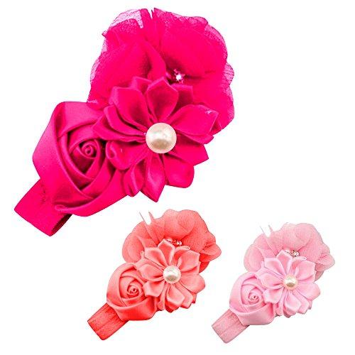 EROSPA® Baby Stirnband Blumen Kleinkind Mädchen Haarband Hochzeit Bowknot Kids Perlen Gummiband Geschenk Prinzessin Taufe Fotografie 3 Farben (Hot Pink)