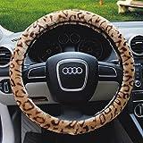 Greenery Funda de felpa para volante, diseño de leopardo, universal