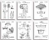 Badezimmer-Patentdrucke, witziges Geschenk für Ihr Bad, ungerahmt, 6 Stück