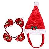 Kascha Weihnachtsmütze - Weihnachtsset für Kleine Haustiere Hund & Katze Mütze und Halsband Rot Weiß - Nikolausmütze