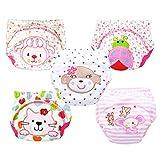 Pack de 5 Hikfly Bébé fille Bébé garçon Réutilisable pot de toilette pantalons de formation pantalons sous-vêtements couches lavables (100/XL, Fille)